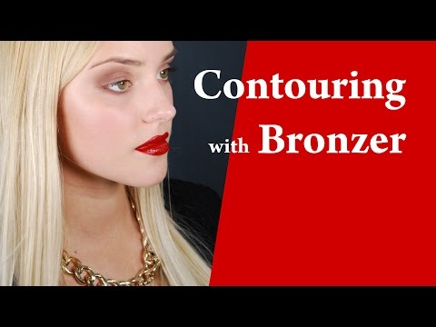 Contouring Cheeks and Face with Bronzing Powder