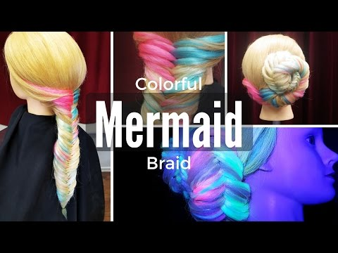 How To Create Rainbow DIY Mermaid Fishtail Braid With Extensions - DoctoredLocks.com