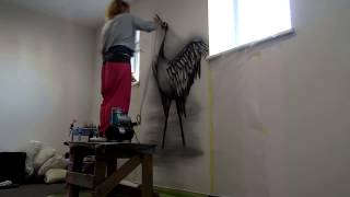 Роспись стен Цапля(Нестандартный декор стен, потолков, реставрация мебели с помощью художественных приёмов и современных..., 2014-02-06T19:24:04.000Z)