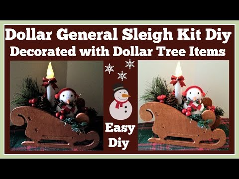 Dollar General Sleigh Kit Diy 🎄 Decorated with Dollar Tree items