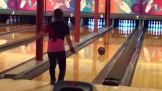 Alyssa Gilpin bowling at rollaway