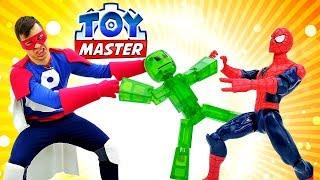 Шоу Той Мастер - Человек Паук и СтикБот на базе Джокера!