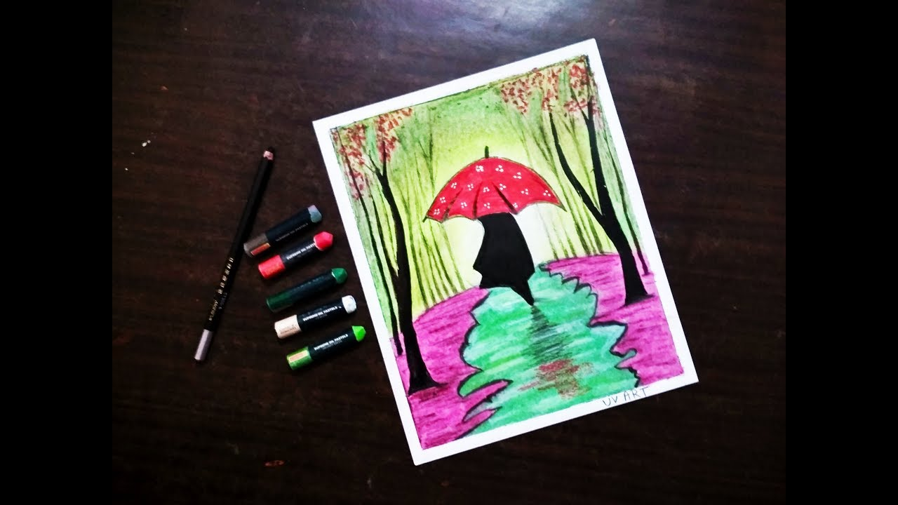 Rainy season beginners oil pastels scenery drawing romantic couple with umbrella oil pastel drawing