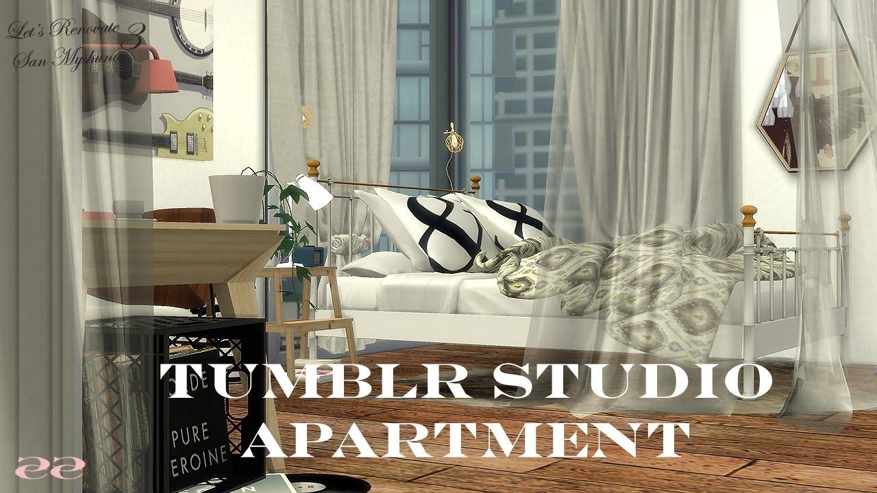 The Sims 4   Tumblr Studio Apartment   Letu0027s Renovate San Myshuno Episode 3    YouTube
