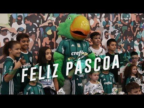 No domingo de páscoa, Palmeiras fez surpresa para os filhos dos jogadores