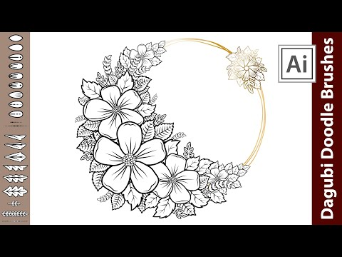 How To Doodle In Adobe Illustrator - Design A Flower Doodle Frame With Brushes