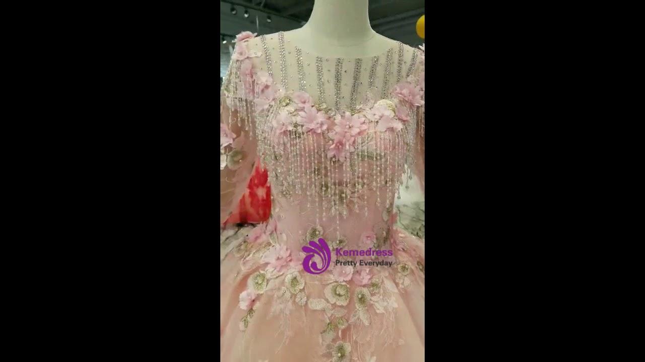ca0d800a1c19 kemedress Pink Princess Ball Gown Tulle Appliques 3/4 Sleeve Wedding Dress
