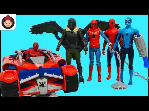 Marvel Spider Man Homecoming Toys – Vulture Iron Man Tech Suit Spider Racer Vehicle – Unboxing Video