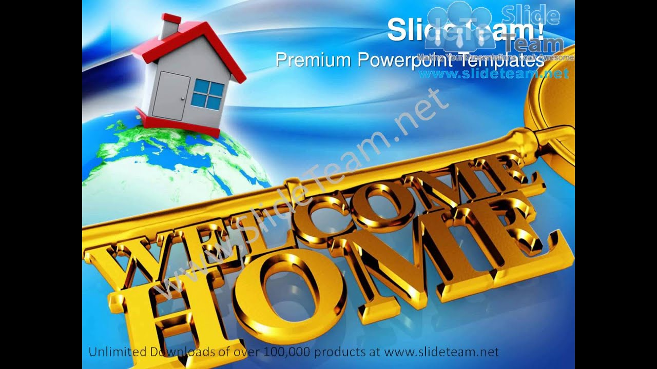 key with welcome home real estate powerpoint templates ppt themes, Powerpoint templates