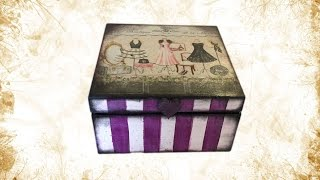 Decoupage napkin on wooden box