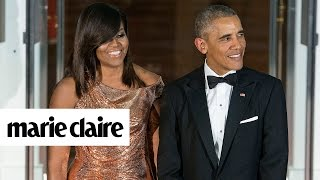 Michelle Obama Shuts it Down in Versace at the Final State Dinner and More News   Marie Claire