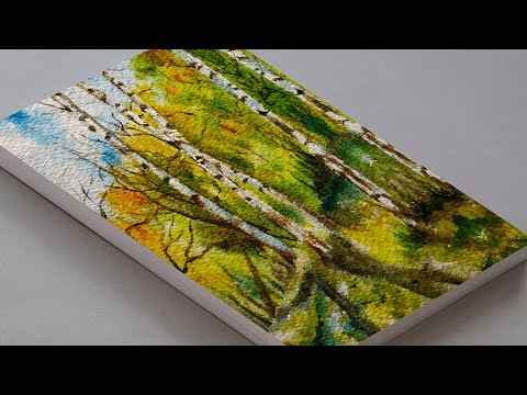 Watercolor Birch Trees Painting Tutorial Easy | How to paint Trees in Watercolors I SCENERY PAINTING