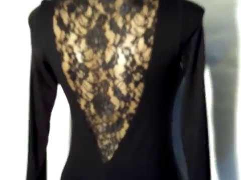 Черное платье с кружевными вставками (Oodji)