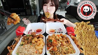 CHINESE FAST FOOD PANDA EXPRESS MUKBANG 먹방 (Chow Mein Noodles, Fried Rice, Orange Chicken, Shrimp)