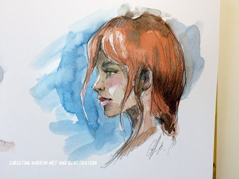 15 min watercolor and pencil sketch book face painting demo from imagination