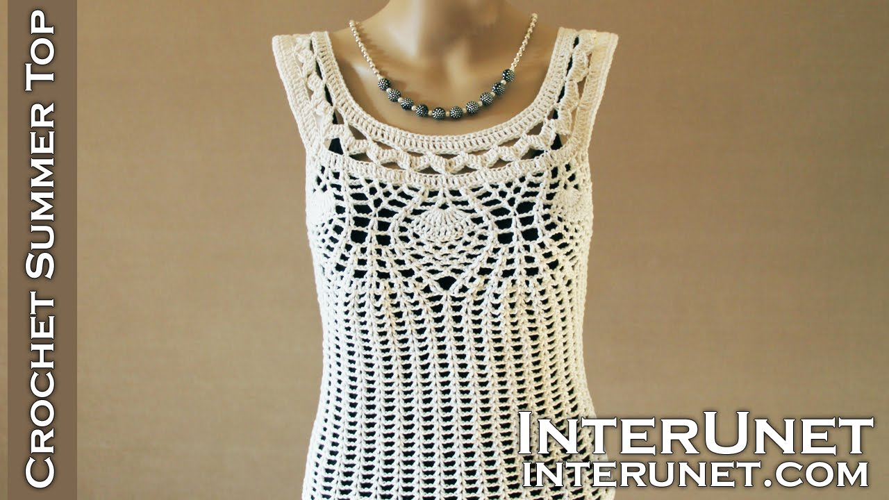 Crochet Pineapple Stitch Tank Top Lace Blouse Crochet Pattern
