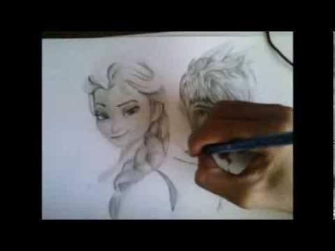 Elsa and jack frost drawing