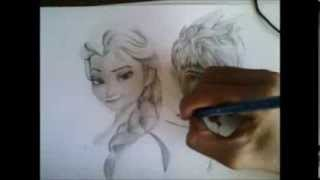 ivan r duran drawing queen elsa frozen and jack frost rise of the guardians
