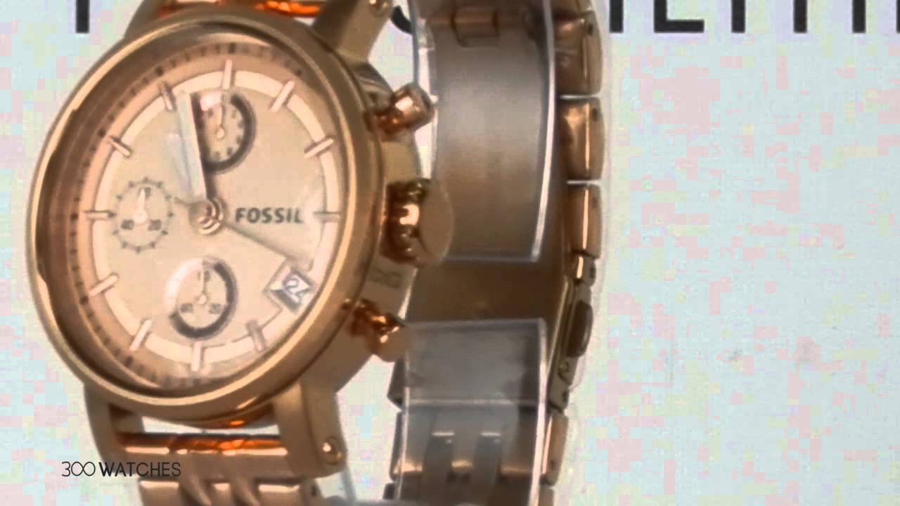 Watch For Womens Fossil Boyfriend Rose Gold Stainless Steel Es3590 Stella Multifunction Tone Chronograph Quartz Youtube