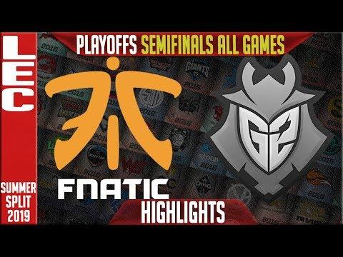 FNC vs G2 Highlights ALL GAMES | LEC Summer 2019 Playoffs Semi-finals | Fnatic vs G2 Esports