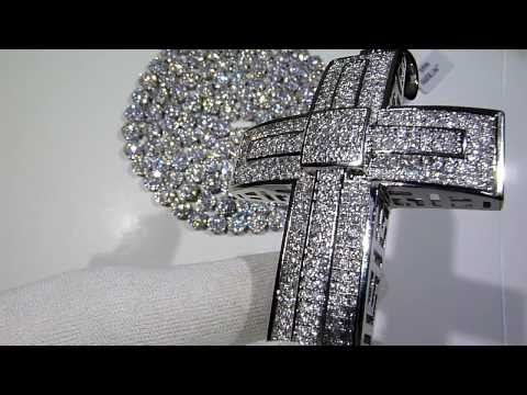 (SOLD) $250 Lab Made Diamond Cluster Chain + Royal Cross COMBO! - Lab Made Jewelry