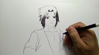 cara menggambar sasuke komik naruto