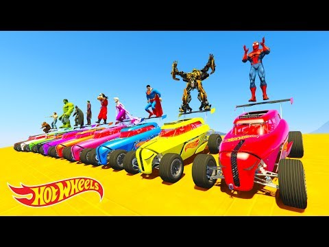 Thumbnail: LEARN COLOR HOT WHEELS and BOATS w/ Superheroes Cartoon for kids and babies
