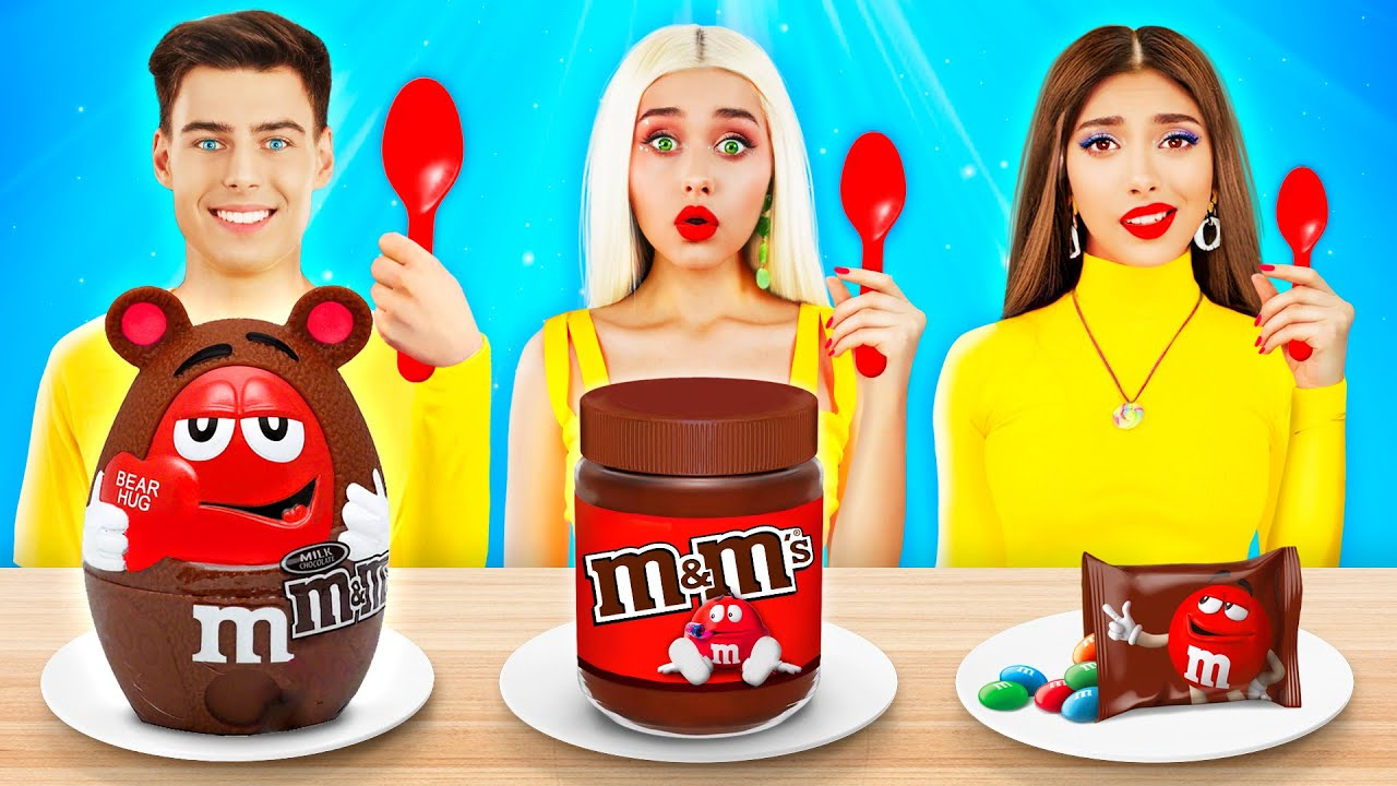 Big, Medium or Small Chocolate Food Challenge! Eating Only Giant VS Tiny Sweets by RATATA CHALLENGE