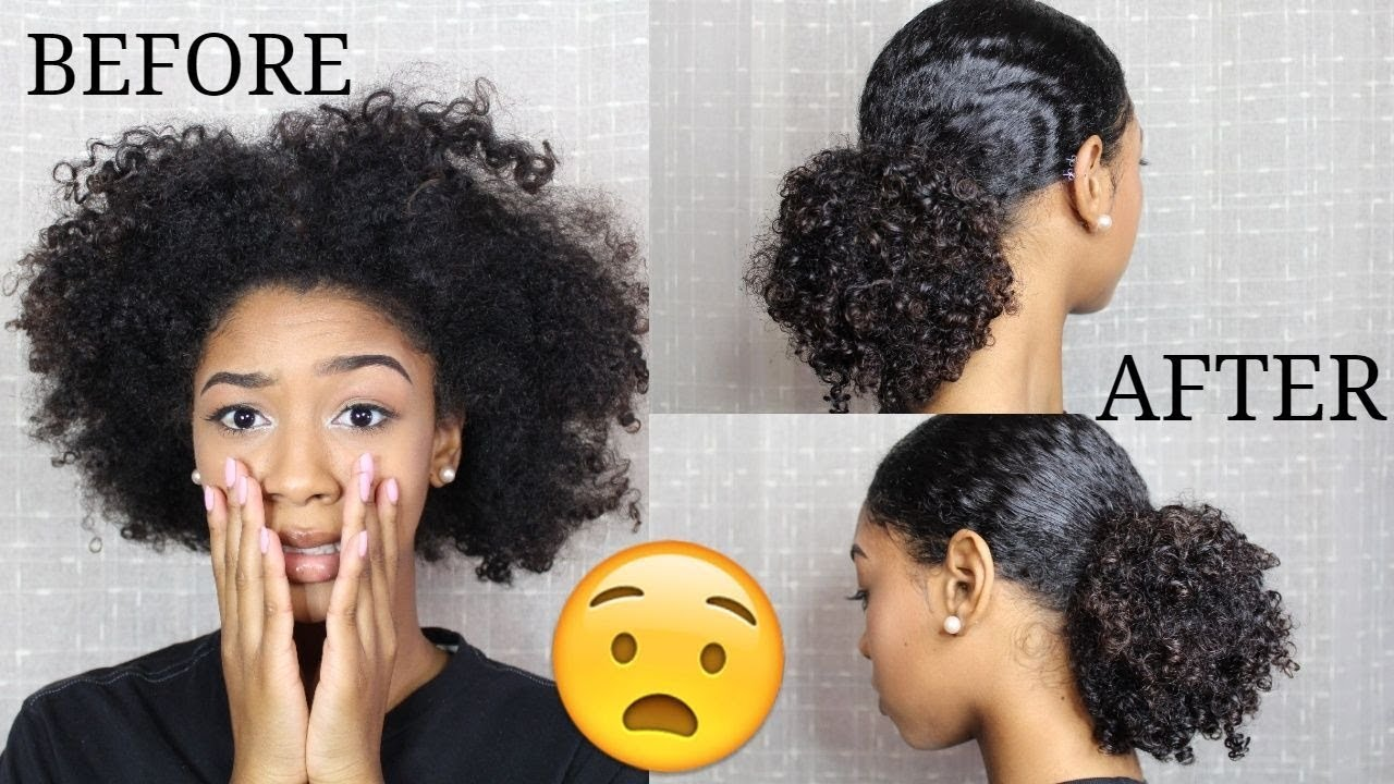 sleek low ponytail on natural curly hair ( fix your old wash and go !)
