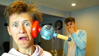 REAL LIFE FORTNITE CLINGER PRANK ON MY LITTLE BROTHER! FORTNITE IN REAL LIFE