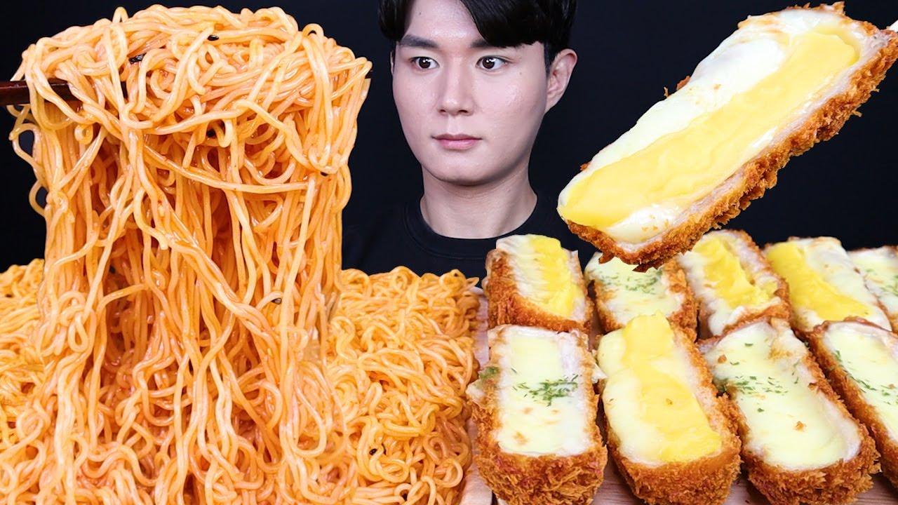 고구마치즈돈까스 비빔면 치즈 돈까스 먹방ASMR MUKBANG CHEESE PORK CUTLET & SPICY FIRE NOODLES チーズとんかつ eating sounds