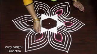 Margazhi kolam designs for 5x3 dots    Dhanurmasam muggulu