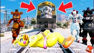 CAN WITHERED FREDDY SAVE CHICA FROM THE TRAIN RUNNING HER OVER? (GTA 5 Mods FNAF RedHatter)