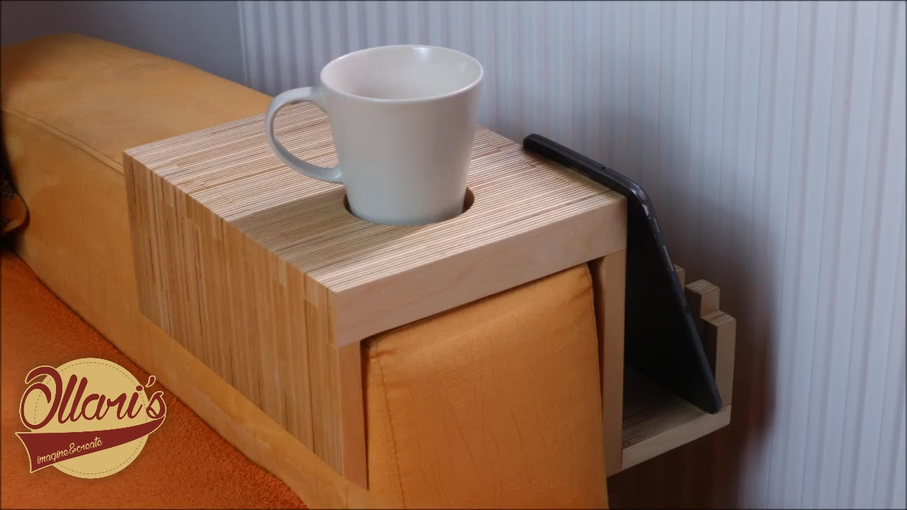 making a plywood sofa tray drink holder