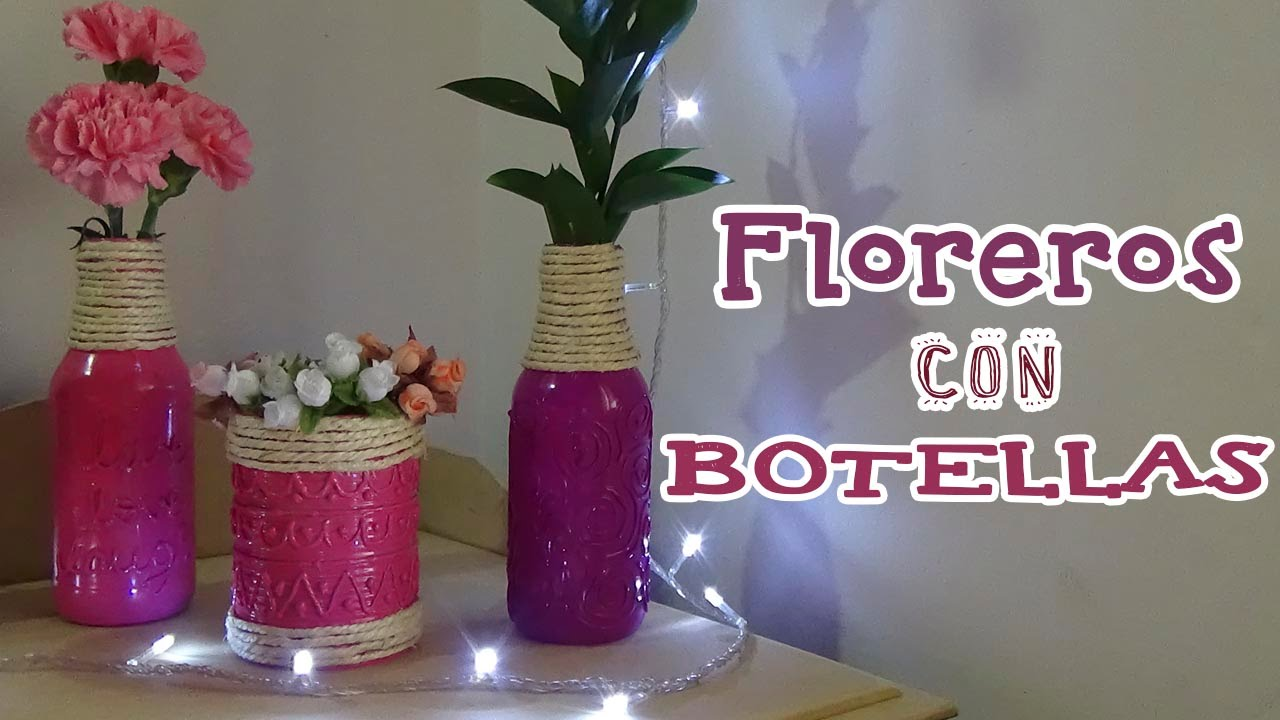 Floreros con botellas de vidrio recicladas candy bu for Como decorar una pared grande