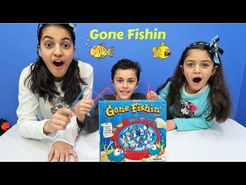 Funny Kids Hadil Zidane and Heidi Playing Fishing Game Gone Fishin! Family fun night with HZHtube