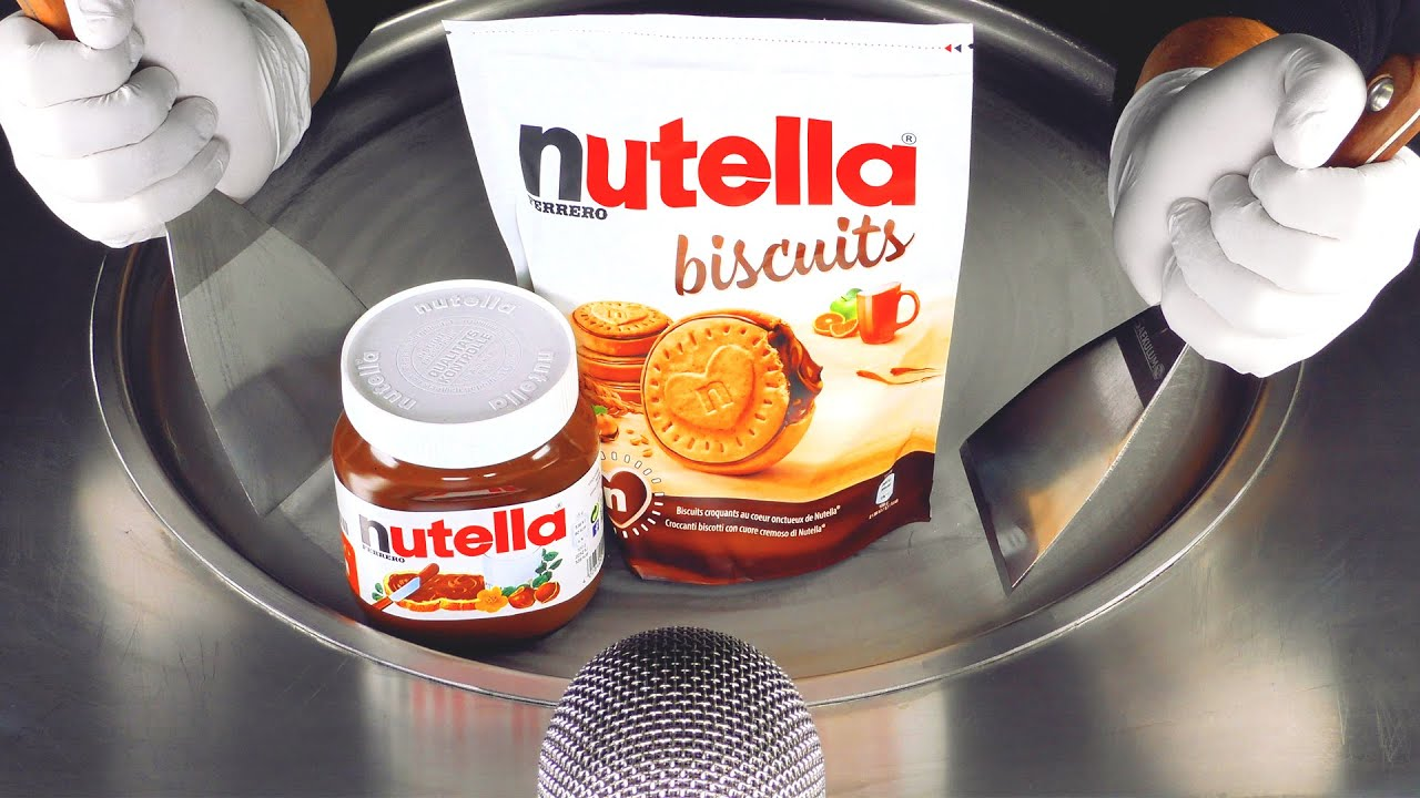 ASMR - Nutella Ice Cream Rolls   how to make Nutella Chocolate Cream and Biscuits to fried Ice Cream
