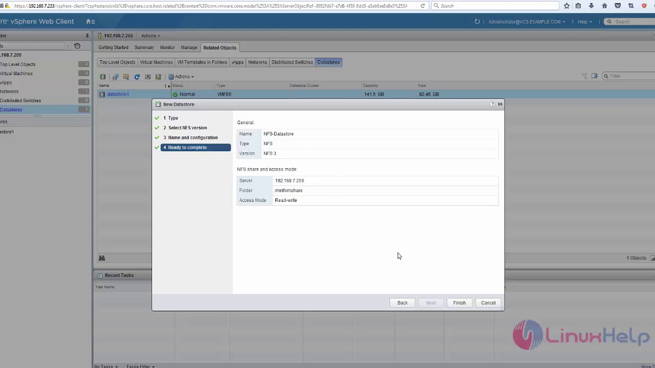 How to add NFS Datastore in VMware Vcenter 6 0