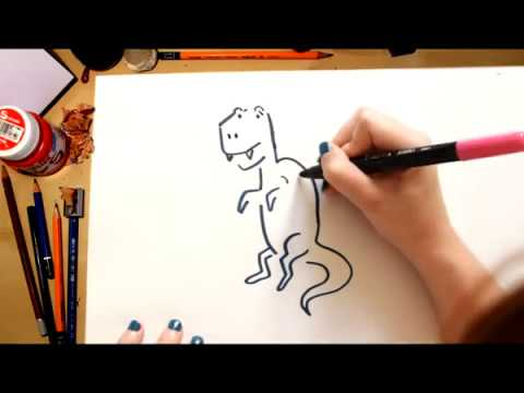 How to draw a Tyrannosaurus - drawing dinosaurs with kids