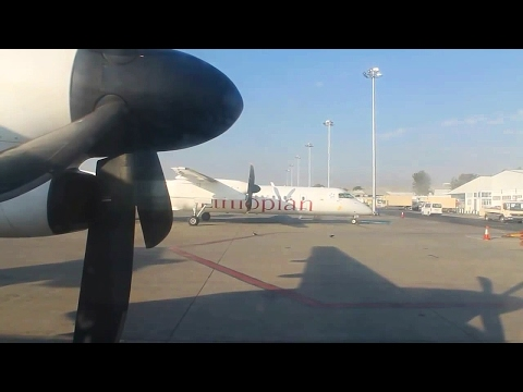 Ethiopian Airlines Dash 8-400Q Addis Ababa-Bahir Dar-Lalibela Safety, Takeoff, Inflight & Landing