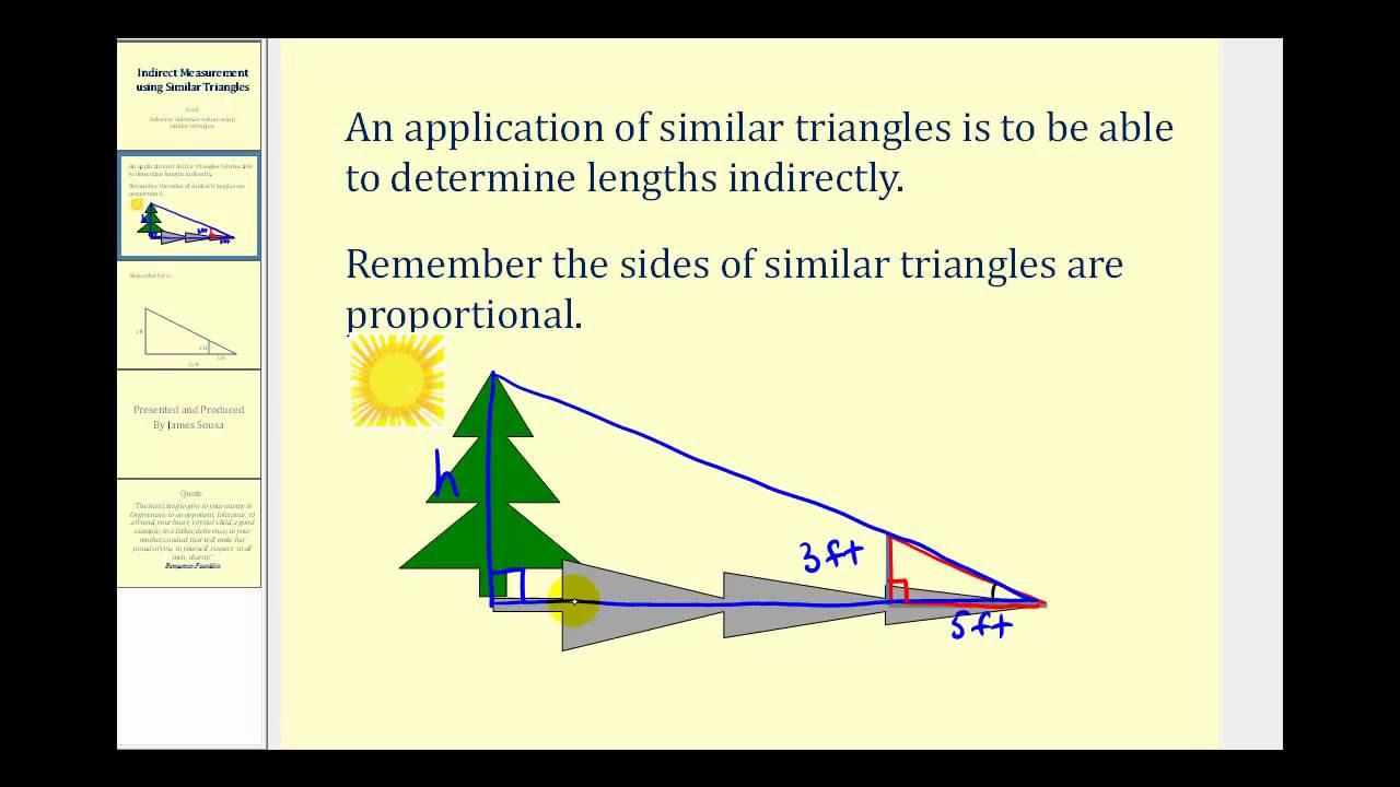 Indirect Measurement Using Similar Triangles with videos – Indirect Measurement Worksheet