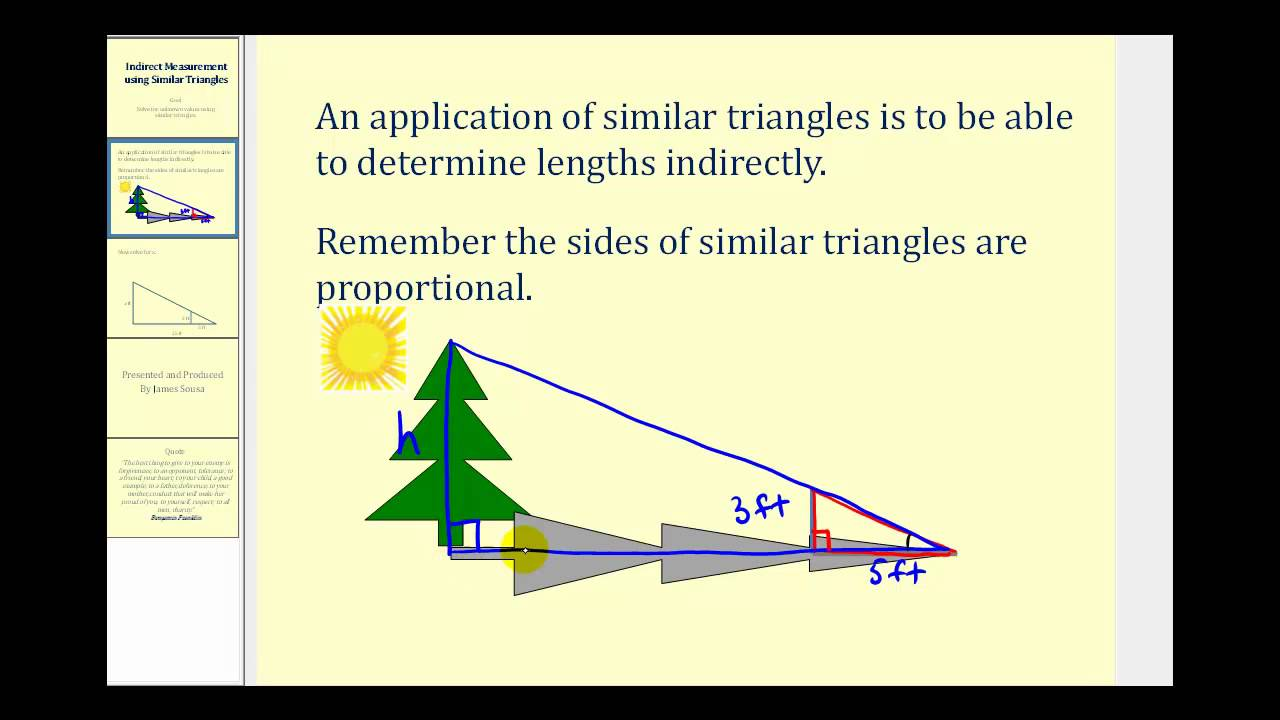 Worksheets Similar Triangle Worksheets indirect measurement using similar triangles youtube