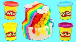 How to Make a Beautiful Play Doh Rainbow Wedding Cake | Fun & Easy DIY Play Dough Arts and Crafts!