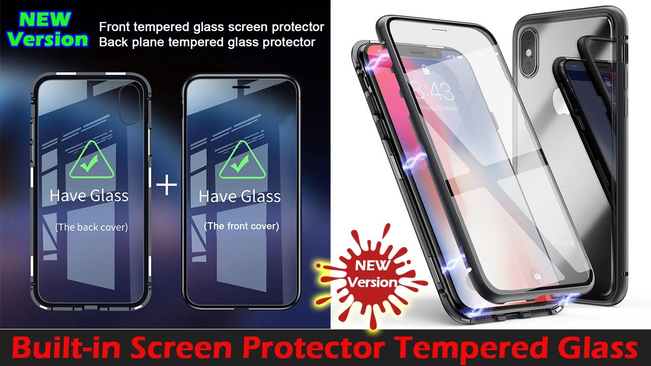 new concept 71f54 ee674 DUAL TEMPERED GLASS (Screen Protector + Backplane) Magnet Adsorption Metal  Case Cover For iPhone