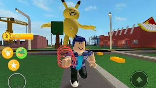 THE GIANT PIKACHU IS TRYING TO EAT ME! AHH! | Roblox A Very Hungry Pikachu Pt. 2