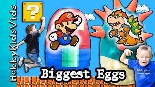 Mario + Bowser Treasure Hunt! Giant Surprise Eggs, Mario Toys + Nintendo Video Games HobbyKidsTV
