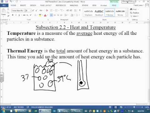 Heat and Temperature Temperature vs Thermal Energy - YouTube