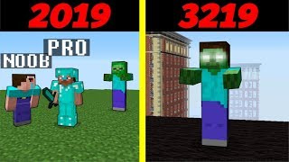 Noob vs Pro : ZOMBIE through 1000 YEARS - Time machine - funny Minecraft Battle