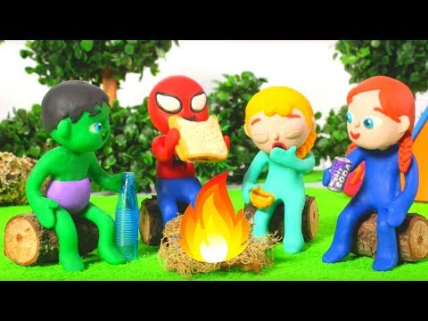 SUPERHERO BABIES GOING CAMPING 鉂� SUPERHERO PLAY DOH CARTOONS FOR KIDS
