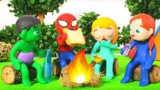 SUPERHERO BABIES GOING CAMPING ❤ SUPERHERO PLAY DOH CARTOONS FOR KIDS
